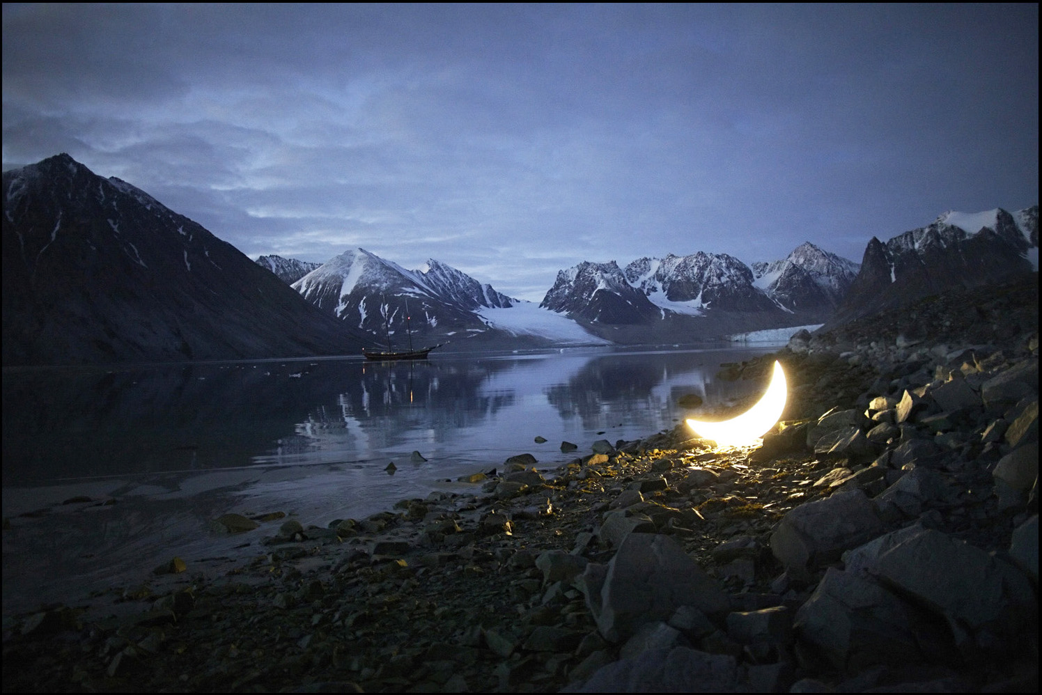 Private Moon in Magdalene fjord. Svalbard
