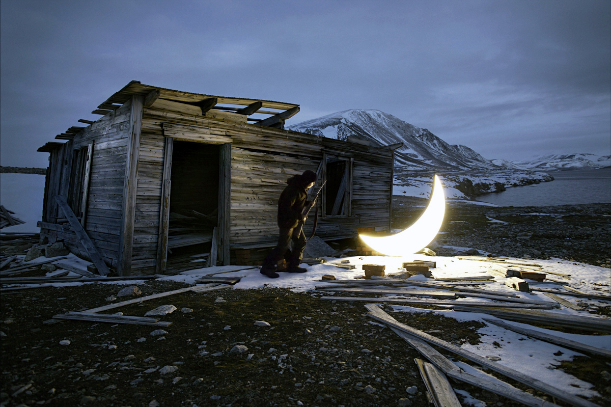 Private Moon in the Arctic. Hunter and the Moon