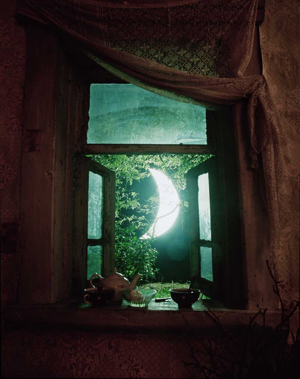 I invite the moon to tea / like a lump of sugar / the damp night dissolves the moon in / an apple tree