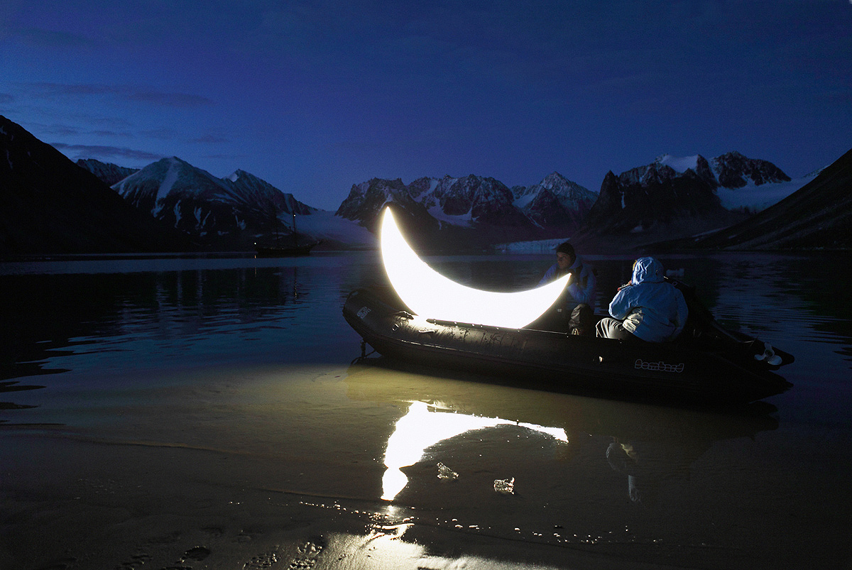 Private Moon in the Arctic. In the zodiac boat